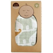 Organic Cotton Swaddling Wrap - Blue Elephant