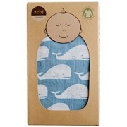 Organic Cotton Swaddling Wrap - Blue Whale